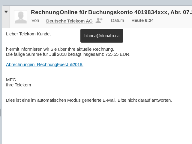 Phishing Attacke im Namen der Telekom